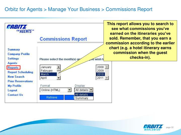 Orbitz for Agents > Manage Your Business > Commissions Report