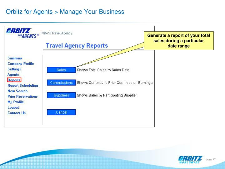 Orbitz for Agents > Manage Your Business