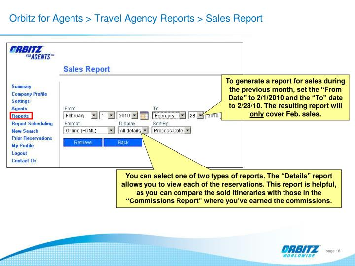 Orbitz for Agents > Travel Agency Reports > Sales Report