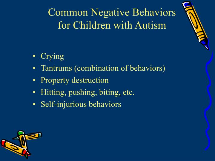Common negative behaviors for children with autism1