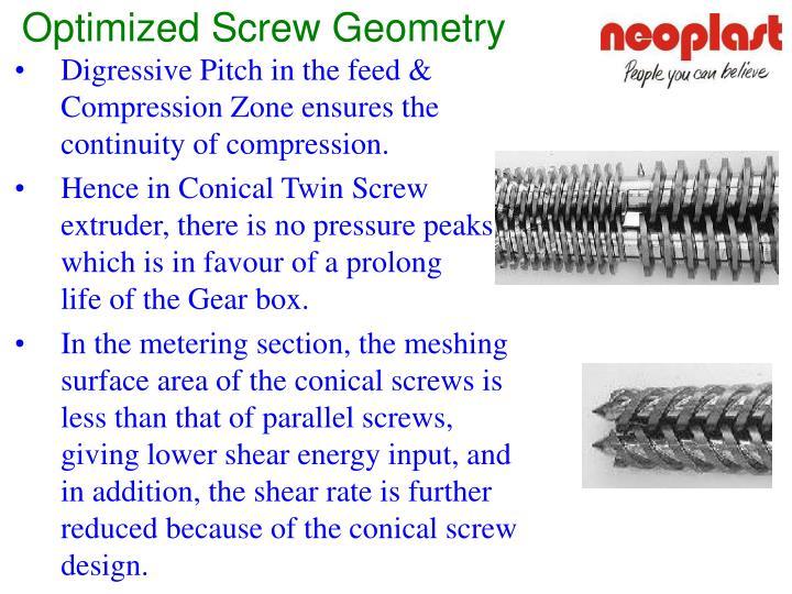 Optimized Screw Geometry