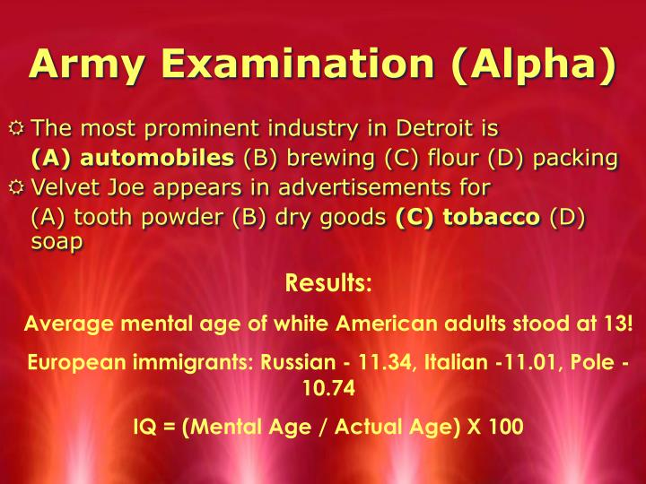 Army Examination (Alpha)