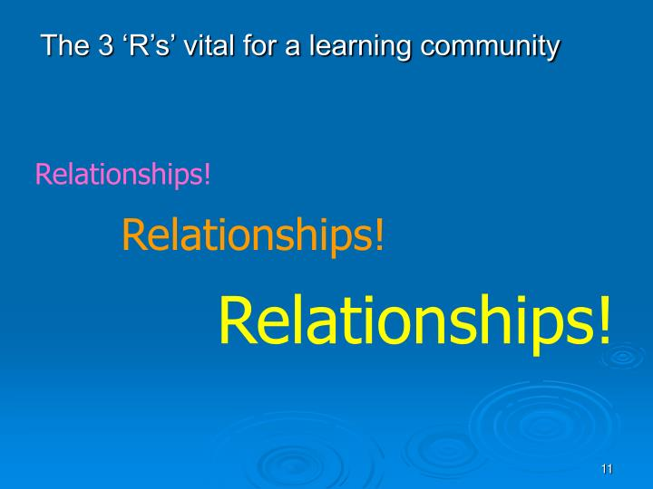 The 3 'R's' vital for a learning community