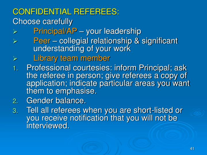 CONFIDENTIAL REFEREES: