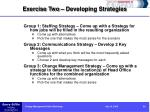 exercise two developing strategies