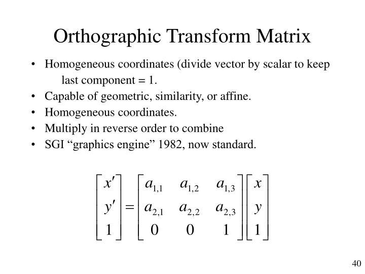Orthographic Transform Matrix