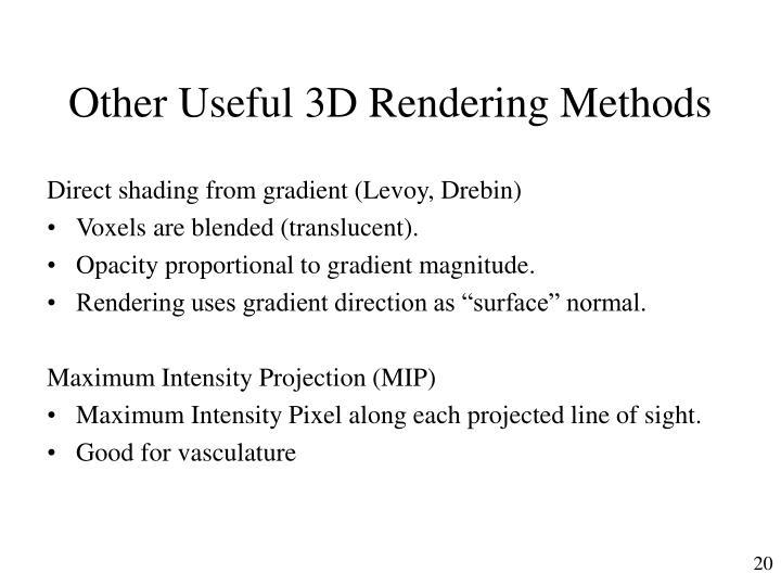 Other Useful 3D Rendering Methods