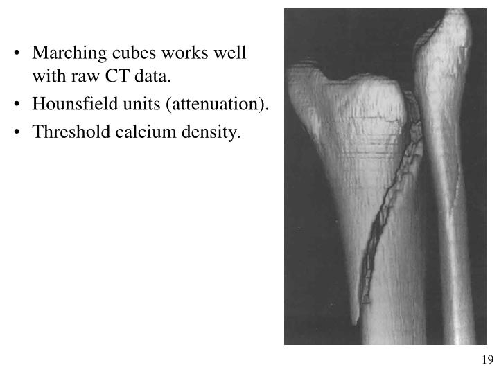 Marching cubes works well with raw CT data.