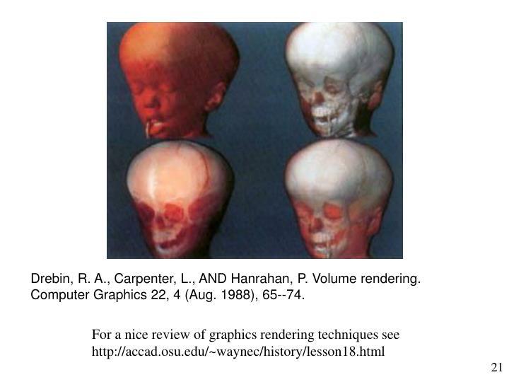Drebin, R. A., Carpenter, L., AND Hanrahan, P. Volume rendering. Computer Graphics 22, 4 (Aug. 1988), 65--74.