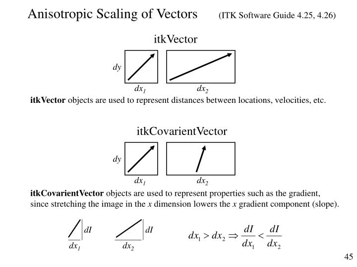 Anisotropic Scaling of Vectors