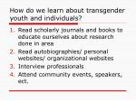 how do we learn about transgender youth and individuals