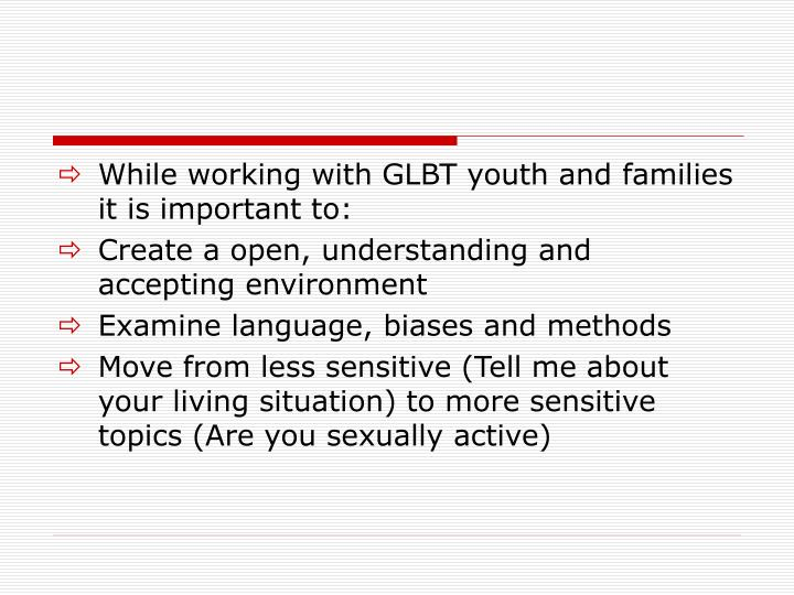 While working with GLBT youth and families it is important to: