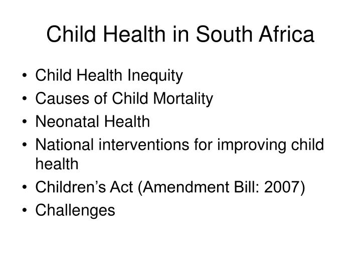 Child Health in South Africa
