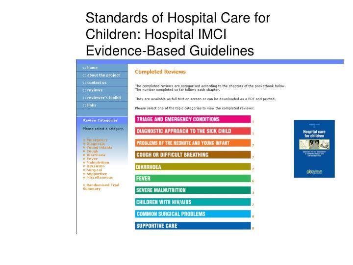 Standards of Hospital Care for Children: Hospital IMCI
