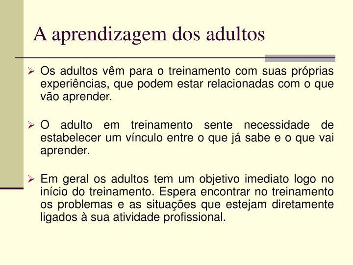 A aprendizagem dos adultos