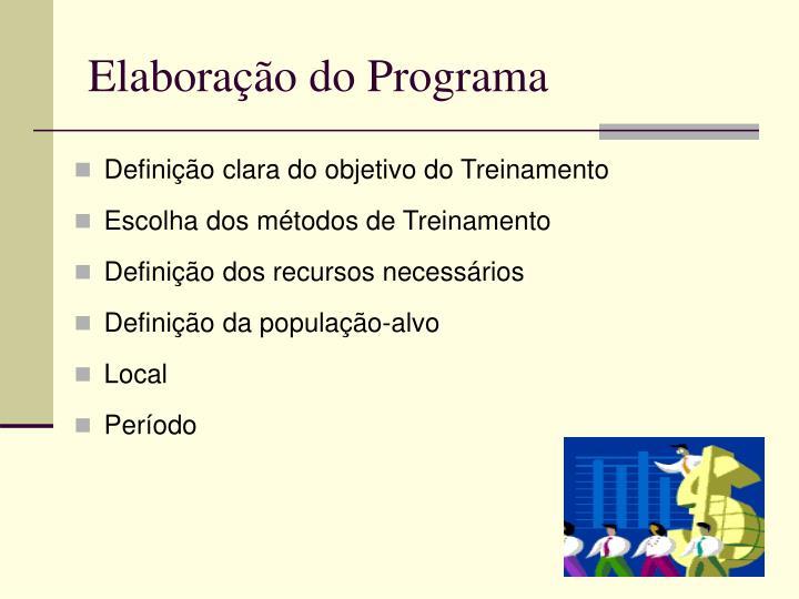Elaboração do Programa