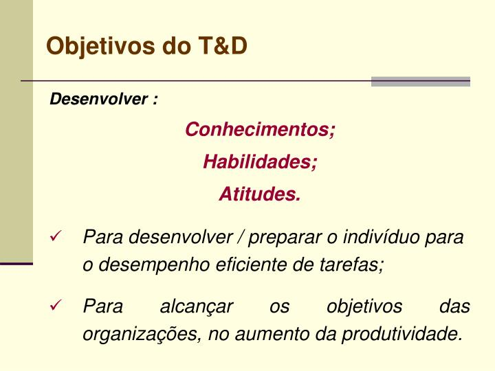 Objetivos do T&D