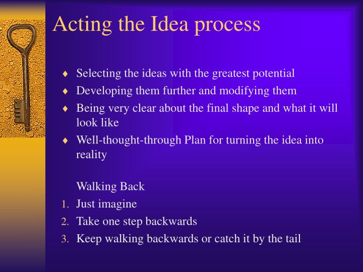 Acting the Idea process