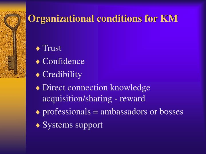 Organizational conditions for KM