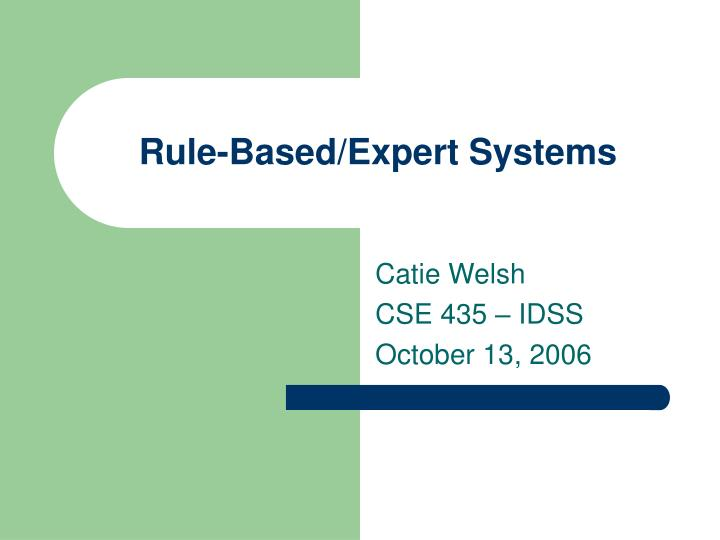 rule based expert systems
