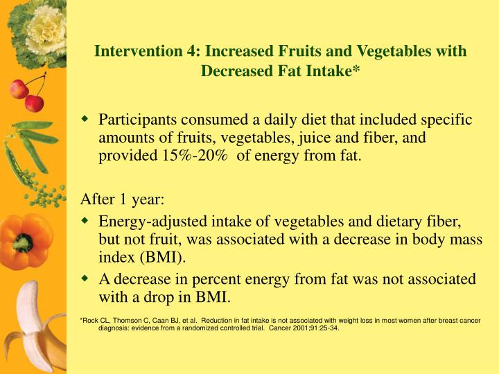 Intervention 4: Increased Fruits and Vegetables with