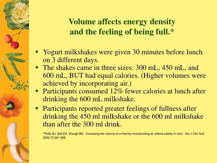 Volume affects energy density