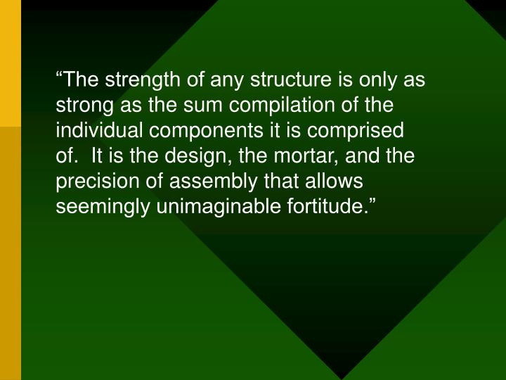 """The strength of any structure is only as strong as the sum compilation of the individual components it is comprised of.  It is the design, the mortar, and the precision of assembly that allows seemingly unimaginable fortitude."""