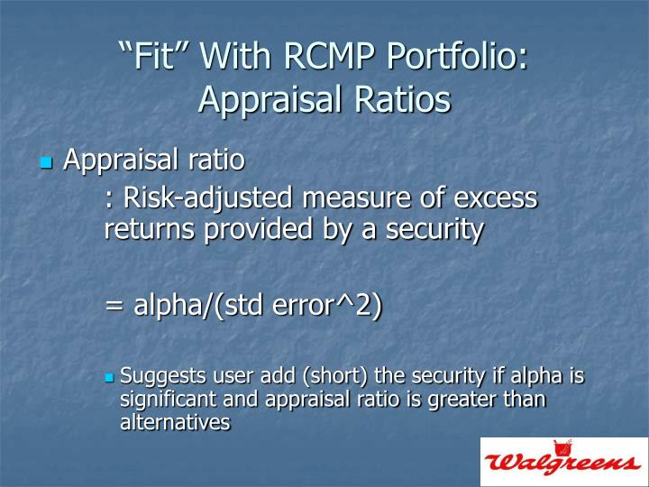 """Fit"" With RCMP Portfolio:"