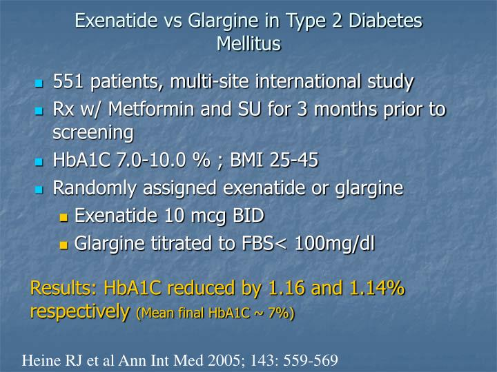 Exenatide vs Glargine in Type 2 Diabetes Mellitus