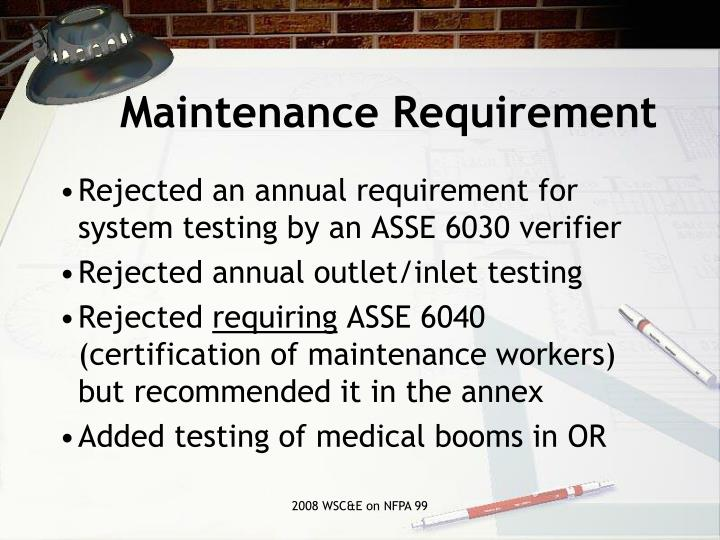 Maintenance Requirement