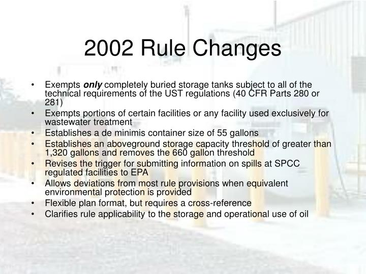 2002 Rule Changes
