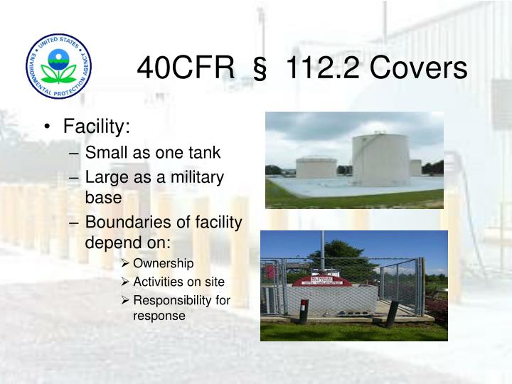 40CFR § 112.2 Covers