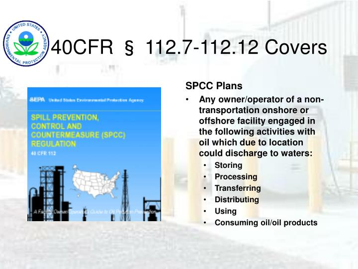 40CFR § 112.7-112.12 Covers