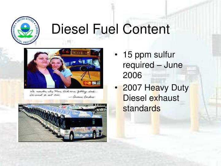 Diesel Fuel Content