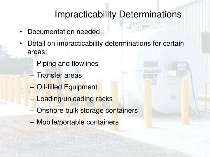 Impracticability Determinations