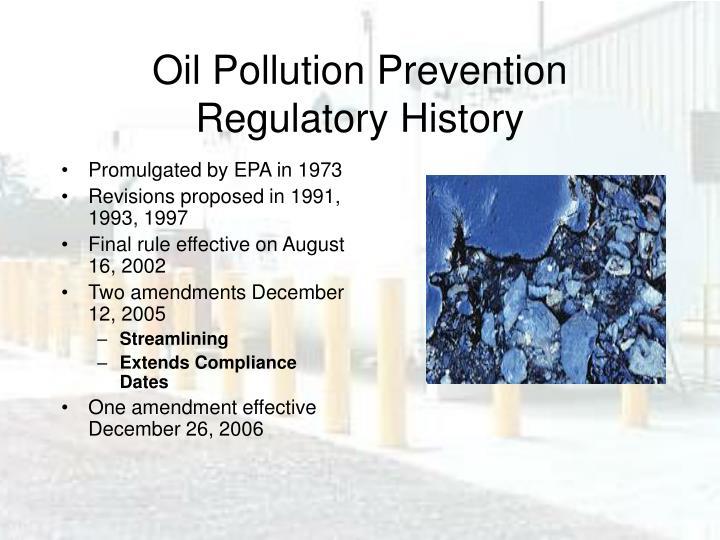 Oil Pollution Prevention Regulatory History