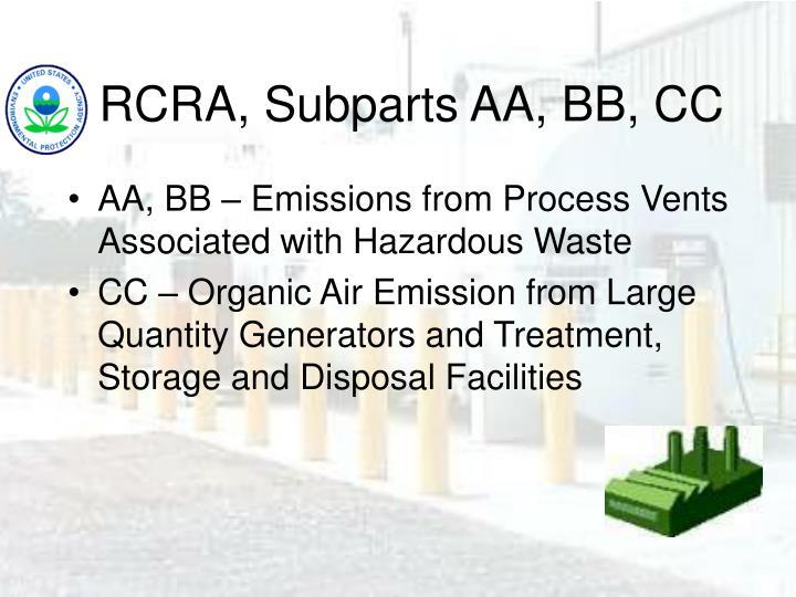 RCRA, Subparts AA, BB, CC