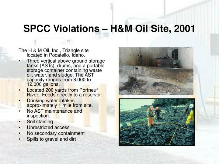 SPCC Violations – H&M Oil Site, 2001