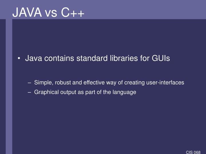 JAVA vs C++