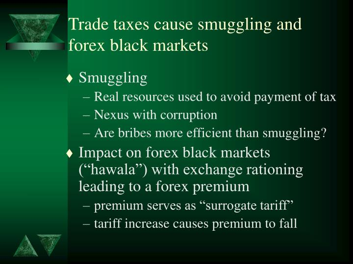 Trade taxes cause smuggling and forex black markets