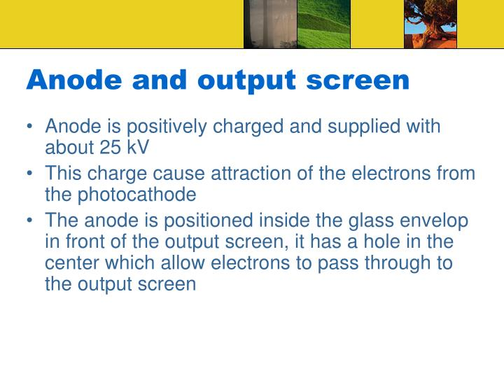 Anode and output screen