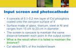 input screen and photocathode