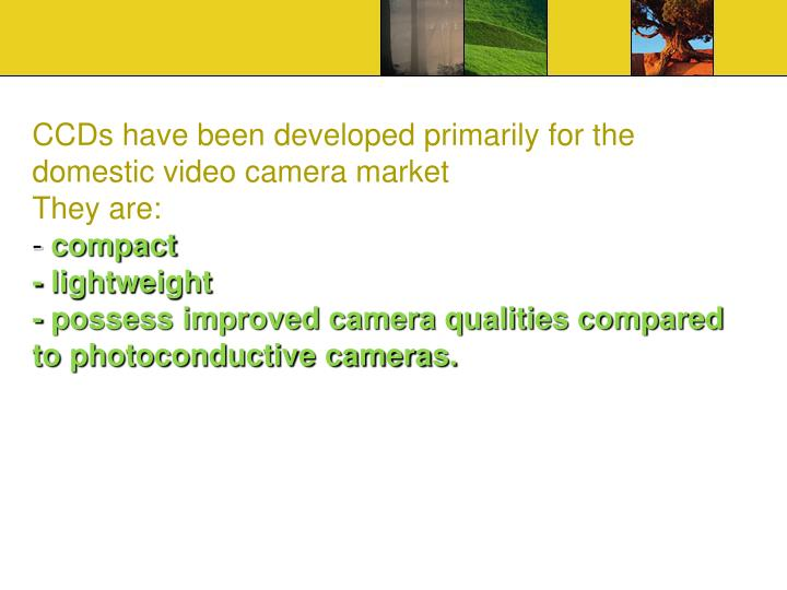 CCDs have been developed primarily for the domestic video camera market