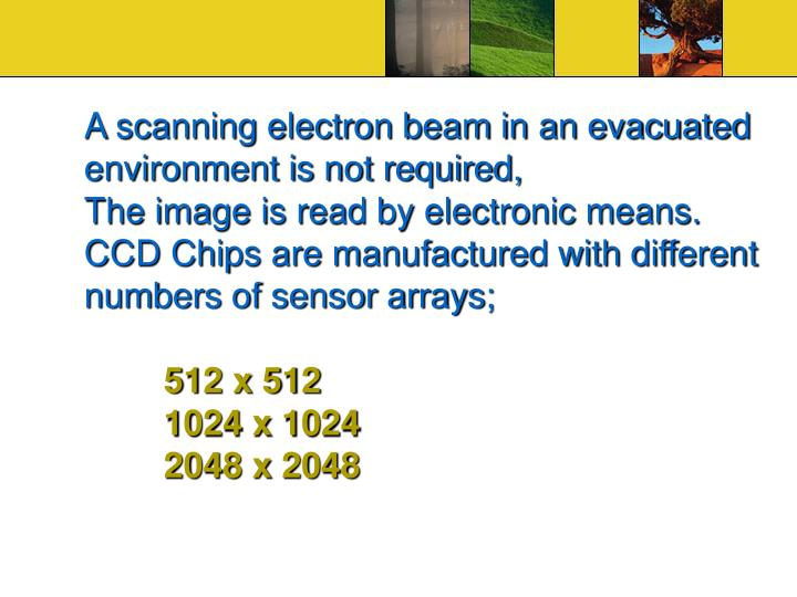 A scanning electron beam in an evacuated environment is not required,