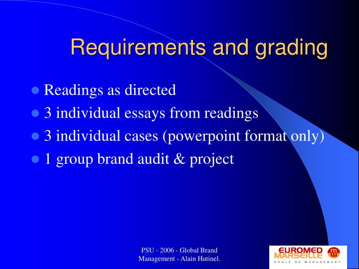 Requirements and grading