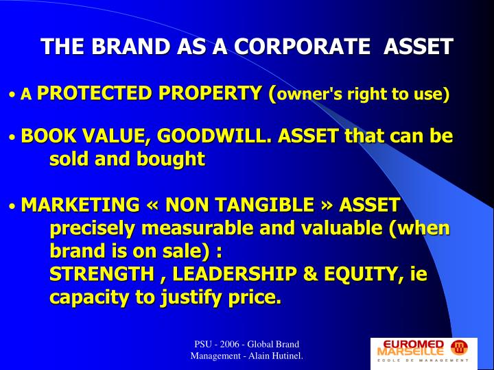 THE BRAND AS A CORPORATE  ASSET