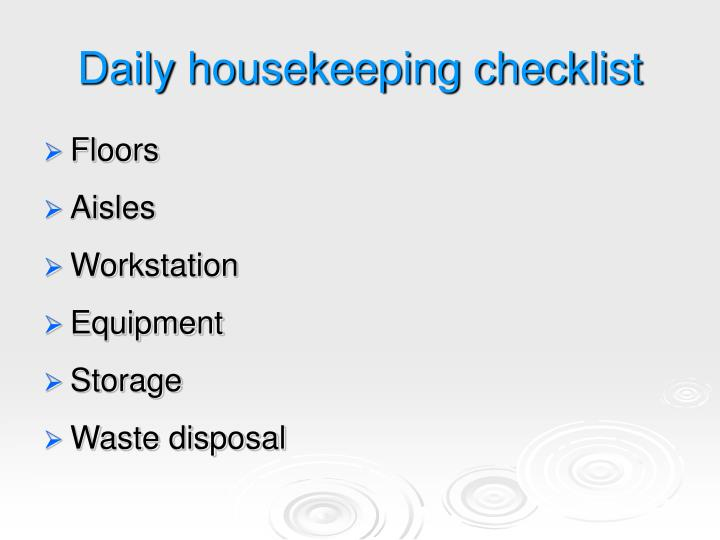 Daily housekeeping checklist