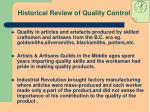 historical review of quality control