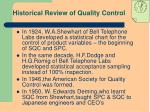 historical review of quality control1