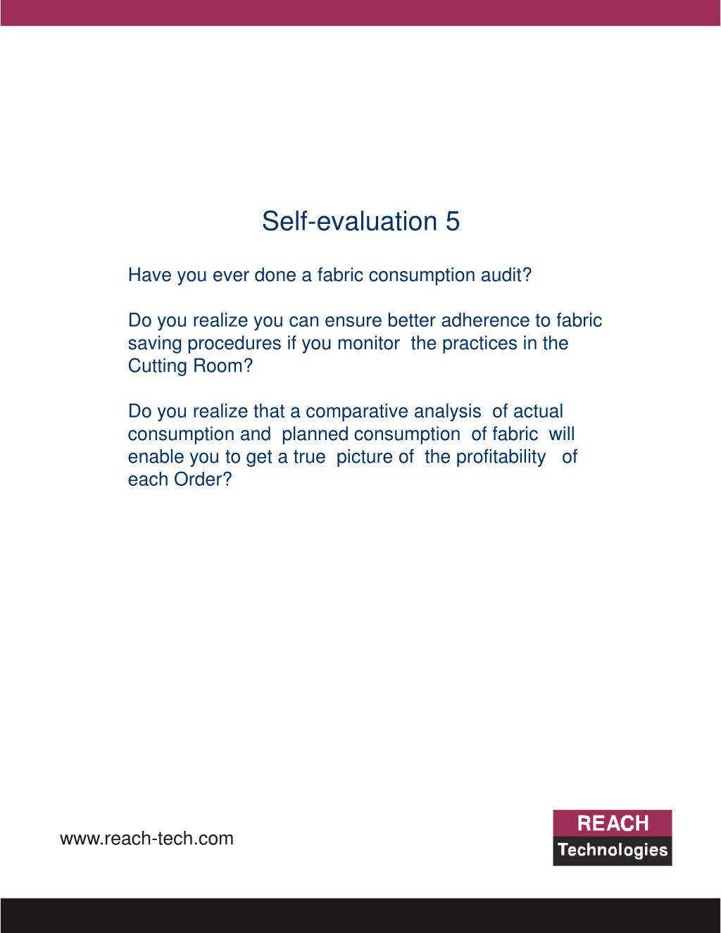 Self-evaluation 5